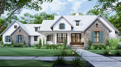 3 Bedroom New American Farmhouse Plan with L shaped Front