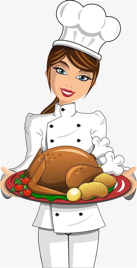 cuisine santos belleza chef vector pollo asado alimentos personajes de dibujos animados png y vector para
