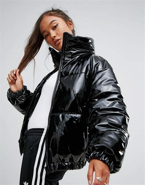 asos high shine patent quilted jacket  black lyst