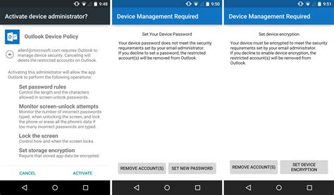 android email setup pin lock and other updates to outlook for ios and android