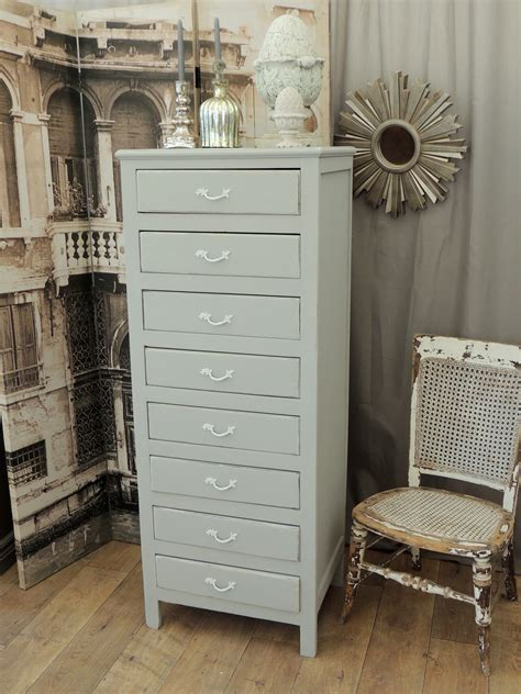 shabby chic tallboy shabby chic oak tallboy with eight drawers eclectivo london furniture with soul