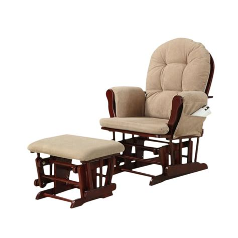 Coaster Tan Microfiber Glider With Matching Ottoman By