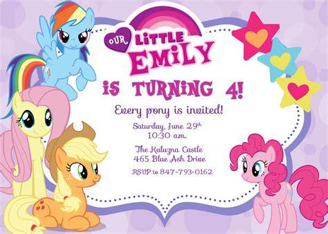 printable   pony birthday invitations