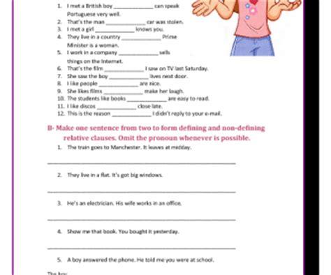 defining   defining relative clauses worksheet