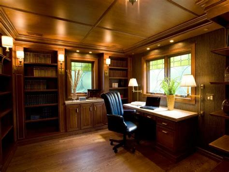 craftsman style home office  wood ceiling  built