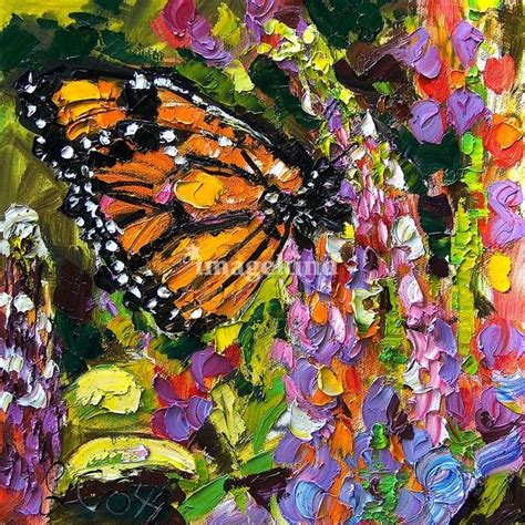 monarch butterfly  lupines original oil painting