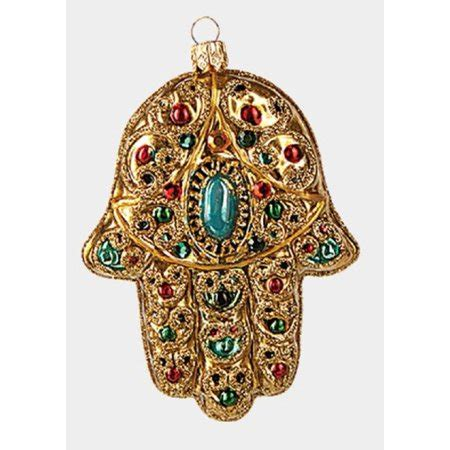 gold hamsa hand polish glass christmas tree ornament