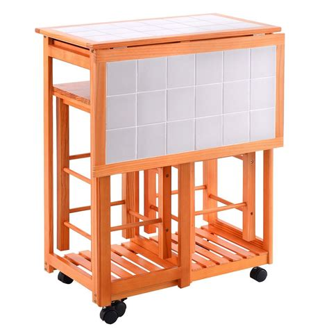 Kitchen Island With Wheels And Stools by Rolling Kitchen Island Trolley Cart Drop Leaf Table W 2