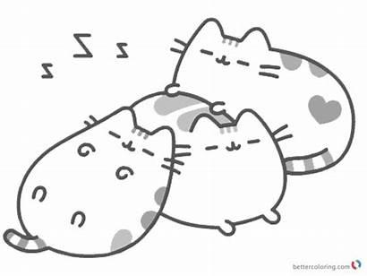 Pusheen Coloring Pages Sleeping Printable Emoji Sheets