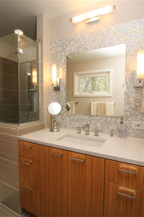 mosaic glass tile  splash vanity traditional