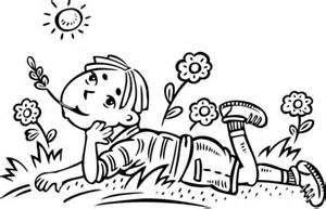 coloriage garcon reverie dans  champ coloriages