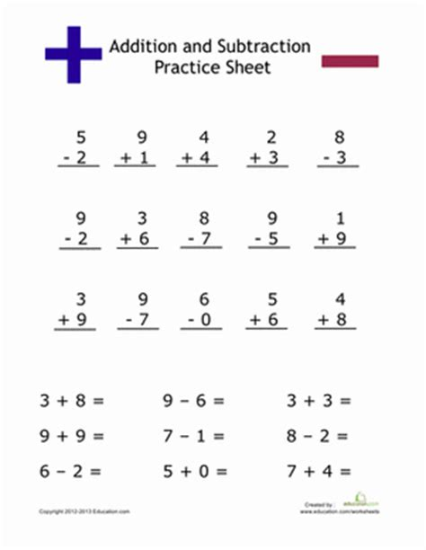 Simple Addition And Subtraction  Worksheet Educationcom