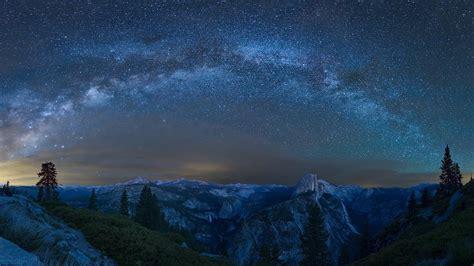 Night Trees Nature Landscape Yosemite National Park