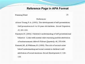 Example Of A Title Page Apa Preparing The List Of References