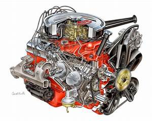 David Kimble Cutaway Illustration Of 1967 302 V8  Z28  For