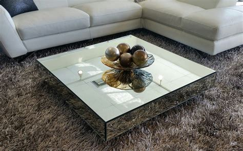 Square Mirrored Contemporary Coffee Table  Modern Coffee