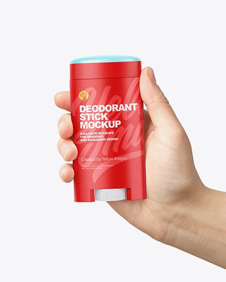 Reliable quality, sterilized, solid package. Opened Plastic Deodorant Stick in Hand Mockup in Bottle ...