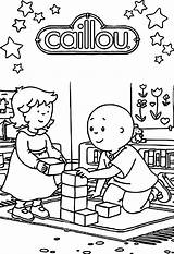 Caillou Coloring Cool Games Cube sketch template