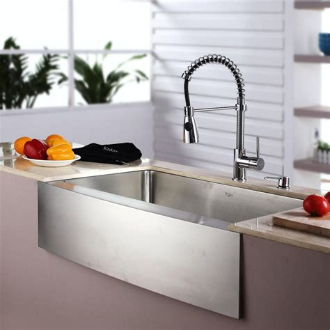 kitchen sink and faucet ideas kraus khf20033kpf1612ksd30ch 33 inch farmhouse single bowl 8432