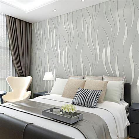 luxury wave flocking wallpaper rolls  woven bedroom