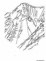 Coloring Mountain Mountains Berge Ausmalbilder Scene Kostenlos Bears Template Hemlock Ausdrucken Malvorlagen Zum Nature sketch template