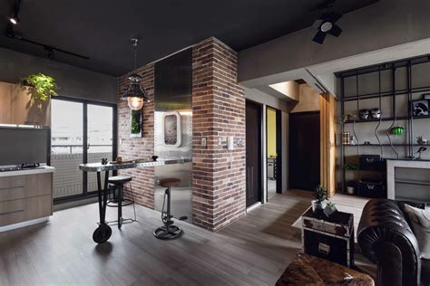 A Small Industrial Apartment With A Home Office Blue Decor by Fabulous Marvel Heroes Themed House With Cement Finish And