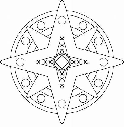 Mandala Coloring Printable Simple Shape Stars Moon