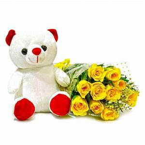 Forever 10 Yellow Roses With Cute Teddy Bear India