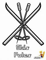 Coloring Skis Winter Drawing Hockey Sports Colouring Bone Pole Cold Yescoloring Getdrawings sketch template