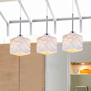 Mamei, Free, Shipping, Square, Glass, Lamp, Shade, Bar, Pendant, Lamps, 3, Lights, Dinning, Room, Light