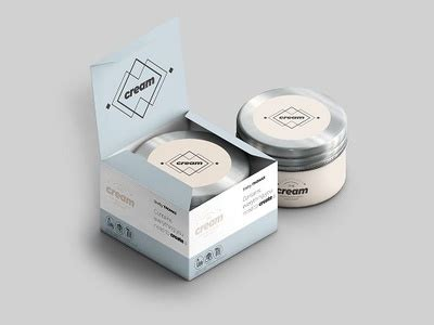 Simple cosmetic cream jar along with paper box mockup. Cream Mock-ups Pack by GraphicBoat on Dribbble