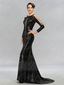 Long Sleeves Sequins Evening Dress With Sweep/Brush Train ...
