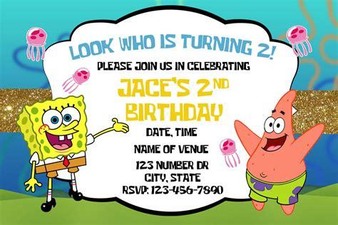 spongebob birthday card template spongebob squarepants birthday invitations