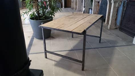 bureau en fer bureau en fer et vieux bois vieux chêne de récupération