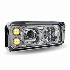 Chrome Led Projector Headlight Assembly With Housing