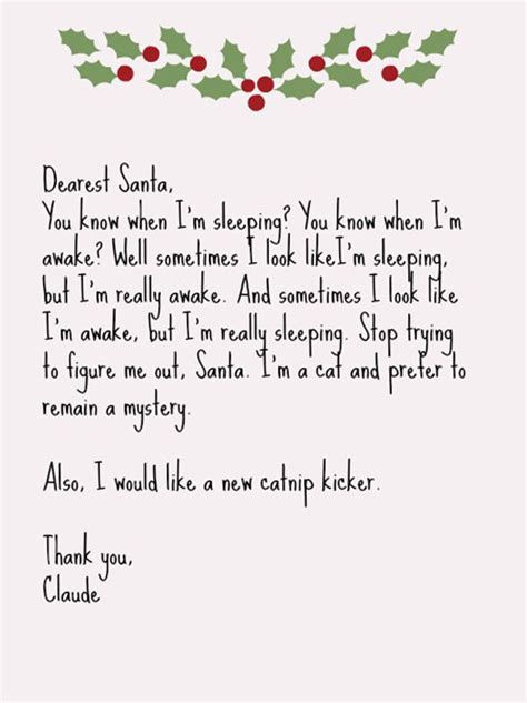 cats write letters  santa catster