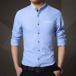 New Brand Men's Casual Shirt Long Sleeve Banded Collar ...