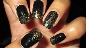 sparkly gold black tip diy nail tutorial