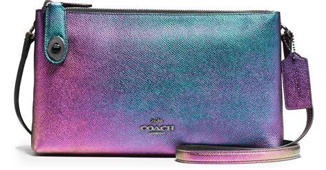 lyst coach crosby iridescent leather crossbody bag