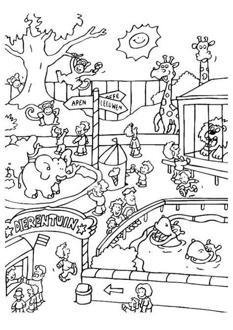 easy preschool printable  zoo coloring pages