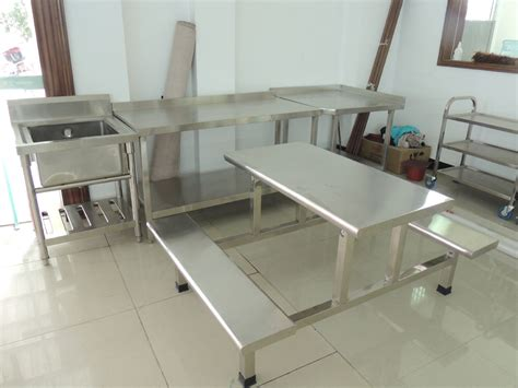 stainless steel restaurant dining table and chair set