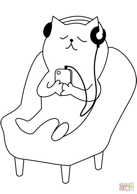 cat listening   coloring page  printable