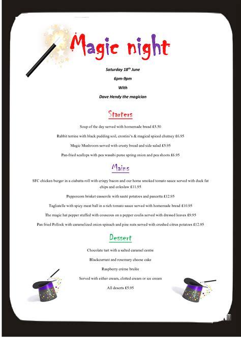 magic l menu community events in molton at the poltimore inn