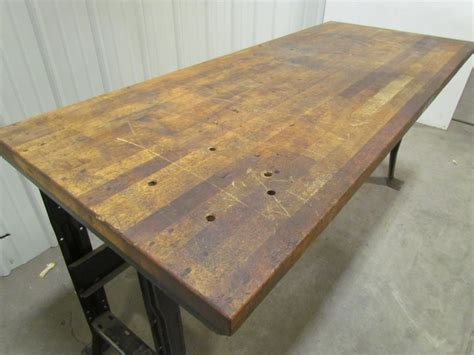 Butcher Block Workbench Table Bolted Steel Frame 72x30x30