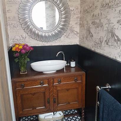 Upcycled Sideboard Animal Panelling Detailed Downstairs Wc