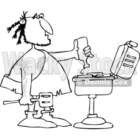 clipart   black  white caveman squeezing ketchup  meat   bbq grill royalty