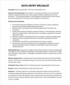 Data Entry Specialist Description For Resume by Sle Data Entry Resume 6 Exles In Pdf Word