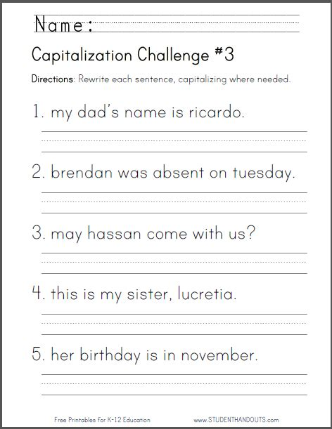 capitalization challenge 3 free to print pdf file
