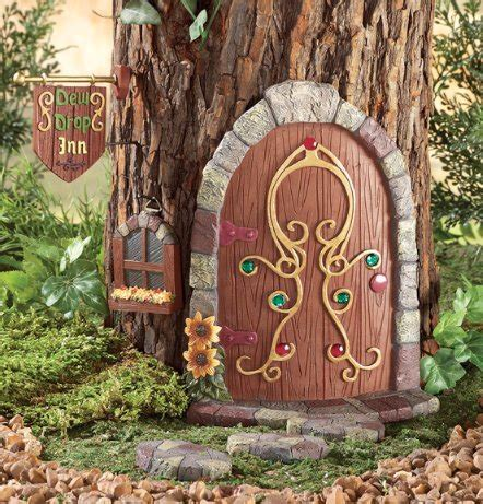 gnome garden door tree decoration  piece set