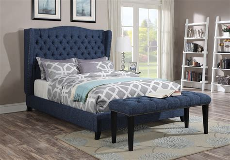 acme furniture  faye blue wingback tufted nailhead